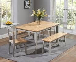 chiltern cm oak and grey dining table set with benches room bench