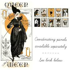 queen of ween panel vintage style halloween fabric panel