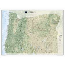 Oregon Maps by Oregon Wall Map National Geographic Store