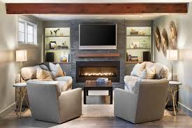 black built ins ethanol fireplace insert living room traditional with black coffee