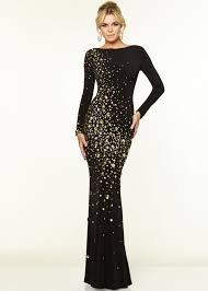 black and gold dress back sleeves black gold circular stones evening gown