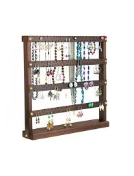necklace display case images Wooden earring and necklace holder walnut with table mounted at jpg