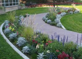 stamped concrete walkway plantings walkway and path specialty