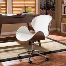 white upholstered office chair baxton studio bruce white faux leather upholstered office chair