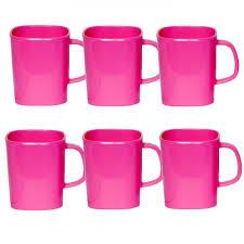 superware 6 pcs melamine pink single colour coffee mug set cups