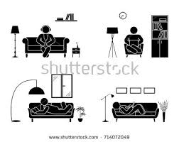 Armchair Position Stick Figure Resting Home Position Set Stock Vector 714072049