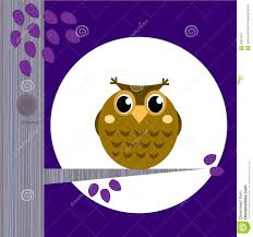 cute halloween owl on tree branch with full moon royalty free