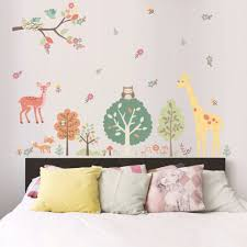 compare prices on room girls online shopping buy low price room birds s home on tree branch owls deer giraffe woods flowers wall sticker kids room boys girls