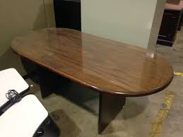 Glass Top Conference Table 6ft Walnut Veneer Racetrack Top Conference Table With Glass