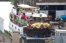 ship flowers s barge decked out in flowers as preparations are made