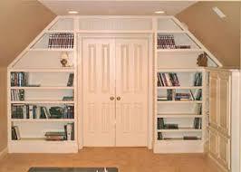 attic media center and bookcase