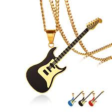 stainless steel guitar necklace images Cool men boys black electric guitar pendant necklace stainless jpg