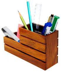 design lab wooden pen holder desk organizer 2 compartments buy