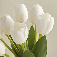 white tulips white artificial tulip bunch in botanicals plants reviews