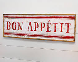 French Country Wall Art - bon appetit sign etsy