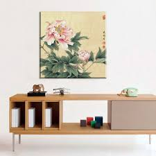 pink peony chinese paintings flowers picture canvas vintage home