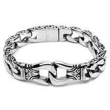 silver stainless steel bracelet images Silver tone mens 316l stainless steel bracelet vintage jewelry jpg