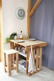 table de cuisine en palette diy créer un îlot central avec des palettes côté maison