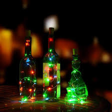 cheap 15 led bottle string lights 30in copper wire cork shape