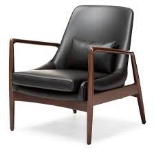 Upholstered Accent Chair Carter Mid Century Modern Retro Faux Leather Upholstered Leisure