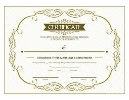 free printable gold ornate certificate of vow renewal i do still