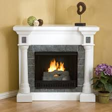 white antique mantel fronts a gas fireplace u2014 interior exterior