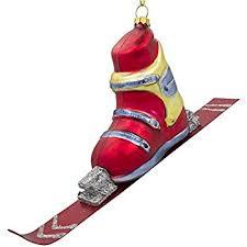 world ski boots glass blown ornament