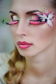 Halloween Makeup Contest by Artistic Yellow Pink And White Fantasy Makeup With Pink Lashes