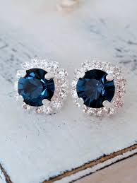 navy blue earrings navy blue earrings navy blue bridesmaid gifts studs swarovski