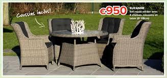 table avec 4 chaises euroshop promotion suzanne set repas wicker avec 4 chaises