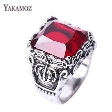 black stone rings images Whole saleyakamoz vintage big red black stone rings for men punk jpg