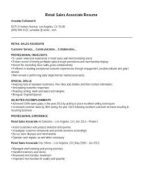 resume exles for sales associates sle retail sales associate resume