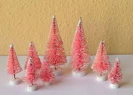 small pink christmas tree set of 8 mini pink sisal bottle brush christmas trees snow