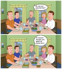 family dinners are awkward at the manning house this season
