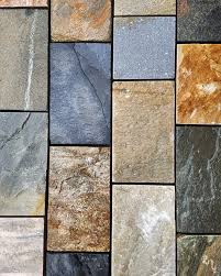 rustic quartz quartzite block paving driveway landscaping