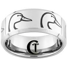 duck band wedding ring 10mm beveled tungsten carbide band duck ring design sizes 5 17