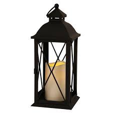 lanterne extérieure avec bougie led en métal noir hauteur 32cm lantern
