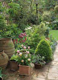 image detail for small urban garden with pots in spring uk