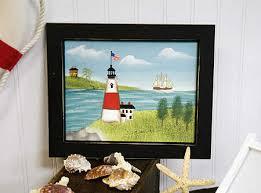 framed lighthouse canvas painting coastal decor home decor
