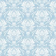 seamless blue retro background with white floral ornament vector