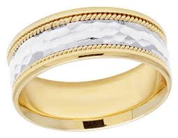 mens comfort fit wedding bands unisex 14k two tone gold comfort fit hammer finish wedding band