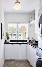 Herringbone Tile Floor Kitchen - white laundry room with gray herringbone floor tiles
