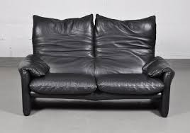 Two Seaters Sofa Vintage Maralunga Black Leather Two Seater Sofa By Vico