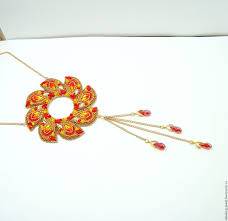 swarovski beaded necklace images Buy red and gold beaded necklace with swarovski fire wheel on jpg