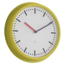 cotta yellow metal wall clock buy now at habitat uk
