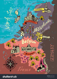 belgium and netherlands map illustrated map of the netherlands belgium luxembourg stock
