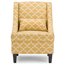 Patterned Living Room Chairs Baxton Studio Lotus Contemporary Fabric Armchair Yellow