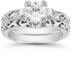 1 carat cz art deco bridal ring set 14k white gold