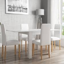 white high gloss table white high gloss flip top dining table and 4 white faux leather