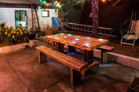 Patio Furniture Lighting Reclaimed Wood Picnic Table With Lights Outdoor Living
